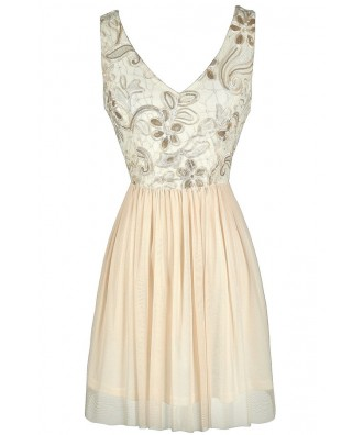 Cute Ivory Party Dress, Gold and Ivory Party Dress, Gold and Ivory Sequin Dress, Gold and Ivory A-Line Dress, Sequin Lace Dress