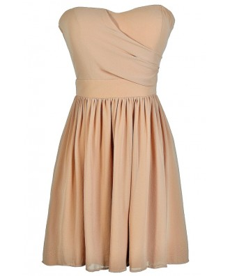 Cute Mocha Dress, Mocha Strapless Dress, Mocha Party Dress, Mocha Bridesmaid Dress, Mocha Chiffon Dress, Taupe Bridesmaid Dress, Taupe Strapless Dress, Taupe Party Dress