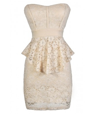 Beige Lace Peplum Dress, Beige Lace Strapless Peplum Pencil Dress, Cute Beige Lace Dress, Beige Lace Party Dress, Beige Lace Cocktail Dress, Strapless Beige Lace Party Dress