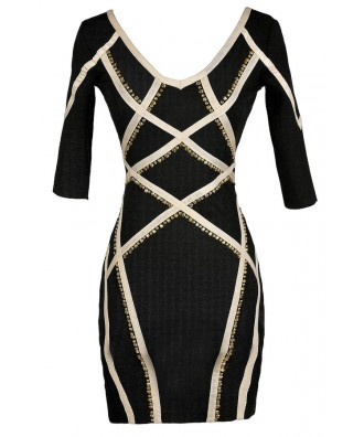 Cute Bodycon Dress, Black and Beige Bodycon Dress, Bodycon Dress With Sleeves, Studded Bodycon Dress, Black and Beige Studded Bodycon Dress