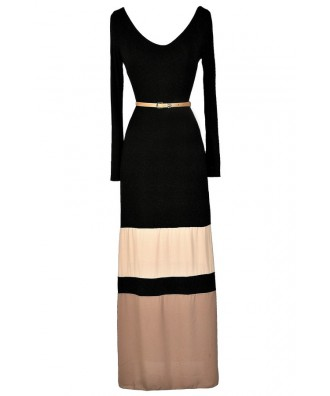 Cute Maxi Dress, Fall Maxi Dress, Winter Maxi Dress, Longsleeve Maxi Dress, Belted Maxi Dress, Black and Beige Maxi Dress, Colorblock Maxi Dress, Cute Long Dress
