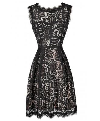 Black Lace Dress, Little Black Dress, Black and Beige Lace Dress, Black Lace A-Line Dress, Black Lace Party Dress, Black Lace Cocktail Dress