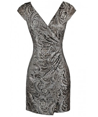 Silver Lace Cocktail Dress, Metallic Lace Wrap Dress, Metallic Lace Party Dress, Cute Silver Lace Dress, Lace Party Dress