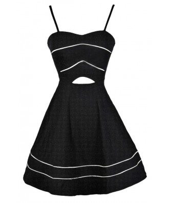 Black A-Line Dress, Black Party Dress, Black Cutout Dress, Little Black Dress, Cute Black Dress