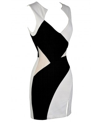 Black And White Colorblock Dress Black And Ivory