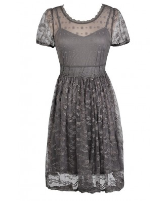 Cute Grey Dress, Grey Embroidered Dress, Grey lace Dress, Grey Party Dress, Grey Summer Dress