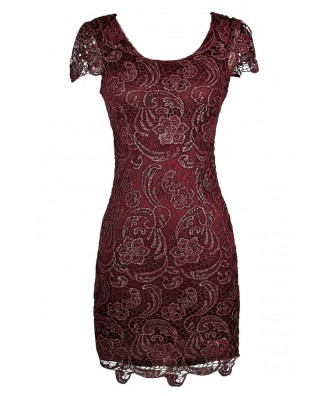 Burgundy Lace Dress, Burgundy Lace Pencil Dress, Burgundy Capsleeve Lace Dress, Burgundy and Gold Metallic Lace Dress
