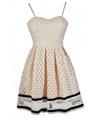 Cute Beige Dress, Beige Lace Dress, Beige Lace A-Line Dress, Beige Lace Party Dress, Beige and Black Lace Dress