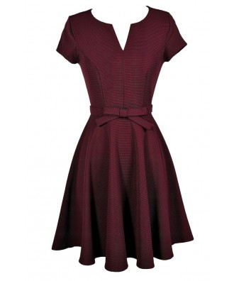 Cute Burgundy Dress, Burgundy Bow Dress, Burgundy A-Line Dress, Burgundy Capsleeve Dress, Burgundy Party Dress
