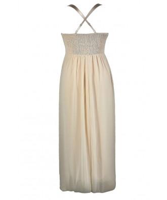 Lily Boutique Beige Plus Size Maxi Dress, Beige Plus Size Prom ...