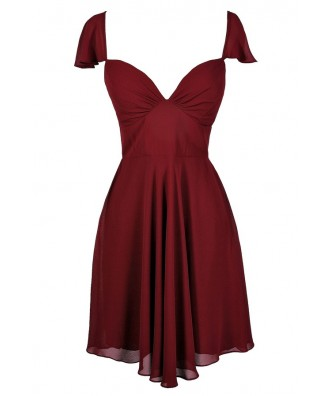 Cute Burgundy Dress, Burgundy Flutter Sleeve Dress, Burgundy Cocktail Dress, Burgundy Party Dress, Burgundy Chiffon Dress, Maroon Party Dress, Maroon Cocktail Dress, Maroon Flutter Sleeve Dress