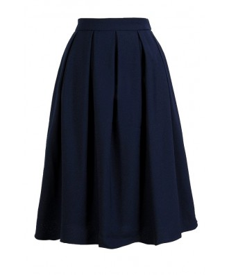 Lily Boutique Navy A-Line Skirt, Navy Pleated A-Line Skirt, Cute ...
