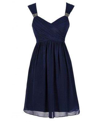 Cute Navy Dress, Navy Party Dress, Navy Cocktail Dress, Navy Chiffon Dress, Navy Beaded Dress, Navy Bridesmaid Dress, Navy Party Dress