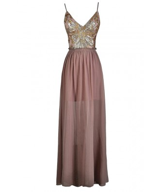 Pink and Gold Sequin Dress, Pink and Gold Sequin Maxi Dress, Pink and Gold Open Back Maxi Dress, Pink and Gold Sequin Prom Dress, Dusty Pink and Gold Open Back Dress