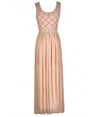 Pale Pink Maxi Dress, Pale Pink Prom Dress, Pink Beaded Maxi Dress, Pink Beaded Formal Dress, Cute Pink Dress, Pink Prom Dress, Great Gatsby Dress, 1920s Maxi Dress, Roaring 20s Dress, Roaring 20s Formal Dress