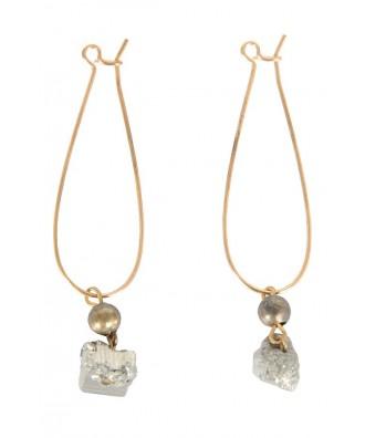 Cute Pyrite Earrings, Pyrite Dangle Earrings, Pyrite Mineral Earrings, Pyrite Hoop Earrings, Cute Pyrite Jewelry
