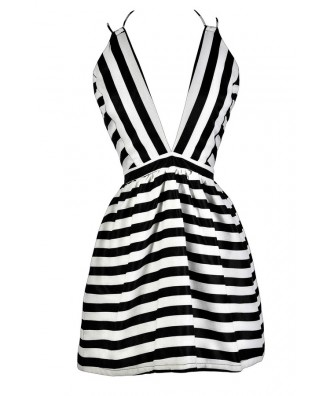 Cute Black and Ivory Dress, Black and Ivory Stripe Dress, Black and Ivory A-Line Dress, Black and Ivory Stripe Party Dress, Black and Ivory Stripe Cocktail Dress
