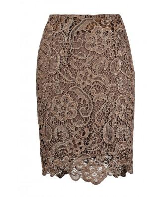 Cute Lace Skirt, Lace Pencil Skirt, Crochet Lace Pencil Skirt, Mocha Crochet Lace Pencil Skirt, Mocha Lace Skirt, Brown Lace Skirt, Lace Pencil Skirt