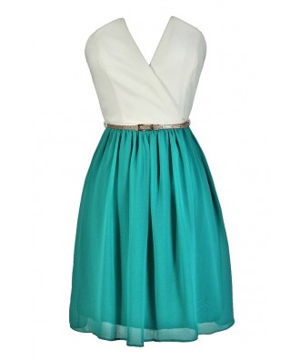 Cute Teal Dress, Cute Jade Dress, Teal and Ivory Dress, Jade and Ivory Dress, Teal and Ivory Party Dress, Teal and Ivory Cocktail Dress, Teal and Ivory Belted Dress, Cute Summer Dress, Cute Party Dress