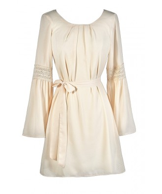 Cute Beige Dress, Beige Hippie Dress, Beige Boho Dress, Beige Bell Sleeve Dress, Beige Flare Sleeve Dress, Beige Longsleeve Dress