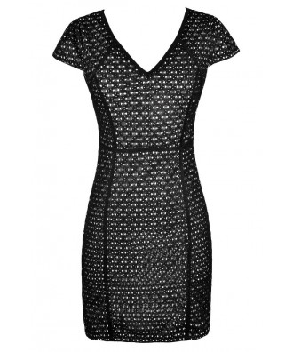 Black and Ivory Lace Dress, Cute Black and Ivory Dress, Black Lace Capsleeve Dress, Black Lace Pencil Dress, Black and Ivory Pencil Dress