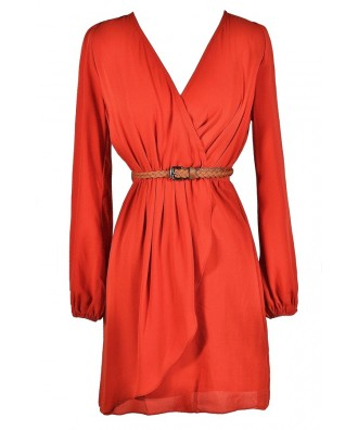 Belted Coral Dress, Belted Rust Dress, Cute Coral Dress, Cute Rust Dress, Rust Coral Dress, Belted Coral Wrap Dress, Belted Rust Wrap Dress, Coral Wrap Dress