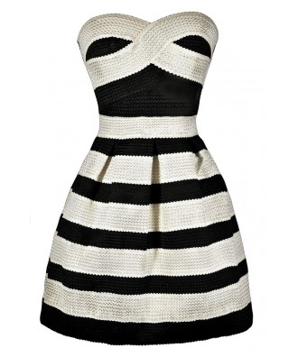 Black and Ivory Stripe Dress, Black and Ivory Stripe Party Dress, Black and Ivory Stripe Cocktail Dress, Black and Ivory Stripe A-Line Dress, Cute Black and Ivory Dress, Black and Ivory Summer Dress, Black and Ivory Party Dress, Black and Ivory Cocktail D