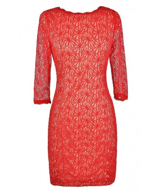 Red Lace Dress, Cute Red Dress, Red Lace Pencil Dress, Red Lace Three Quarter Sleeve Dress, Red Lace Party Dress, Red Lace Cocktail Dress