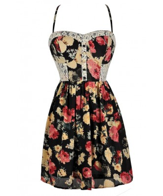Black Floral Sundress, Black and Red Floral Dress, Cute Sundress, Red and Black Floral Sundress, Red and Black Floral Summer Dress, Cute Summer Dress, Floral Print Summer Dress, Floral Print Lace Sundress