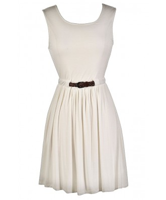 Cute Ivory Dress, Ivory Party Dress, Ivory Belted Dress, Cute Country Dress, Ivory Summer Dress, Off White Summer Dress, Off White Party Dress, Cute Off White Dress