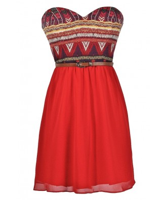 Cute Red Dress, Red Printed Dress, Red Belted Dress, Southwestern Printed Dress, Cute Summer Dress, Red Summer Dress, Belted Summer Dress, Red Strapless Printed Dress