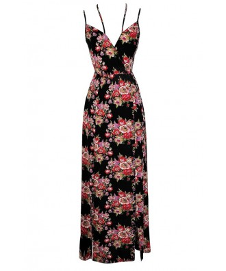 Cute Maxi Dress, Floral Maxi Dress, Cute Summer Dress, Red and Black Floral Dress, Red and Black Floral Print Maxi Dress, Cute 90s Dress, 90s Maxi Dress