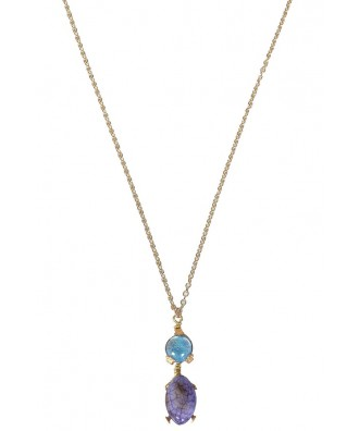 Purple and Blue Stone Necklace, Cute Necklace, Cute Jewelry, Gold and Blue Necklace, Gold and Purple Necklace, Purple Blue and Gold Stone Necklace