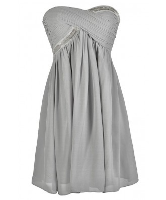 Cute Grey Dress, Grey Bridesmaid Dress, Grey Chiffon Dress, Grey Party Dress, Grey Cocktail Dress, Grey Beaded Dress, Grey Embellished Dress