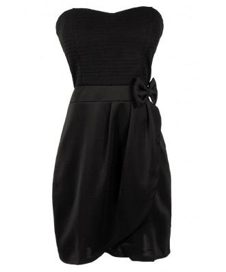 Cute Black Dress, Little Black Dress, Black Bow Dress, Black Party Dress, Black Cocktail Dress, Black Strapless Dress, Cute Bow Dress