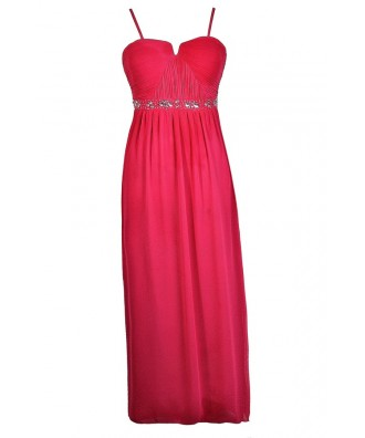Plus Size Prom Dress, Cute Plus Size Dress, Plus Size Formal Dress, Plus Size Maxi Dress, Hot Pink Plus Size Maxi Dress, Hot Pink Plus Size Prom Dress, Hot Pink Plus Size Formal Dress, Embellished Hot Pink Dress, Rhinestone Pink Dress