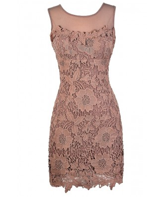 Pink Lace Dress, Mauve Lace Dress, Dusty Pink Lace Dress, Mauve Lace Bridesmaid Dress, Pink Lace Bridesmaid Dress, Dusty Pink Lace Bridesmaid Dress, Mauve Crochet Lace Pencil Dress, Dusty Pink Crochet Lace Pencil Dress