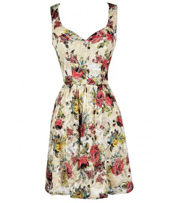 Floral Print Sundress, Cute Summer Dress, Floral Print A-Line Dress, Beige and Red Sundress, Rose Print Dress, Rose Print Sundress, Rose Print Party Dress