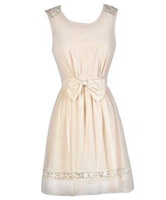 Cute Beige Dress, Beige Bow Dress, Beige A-Line Dress, Beige Summer Dress, Beige Party Dress, Cute Beige Dress