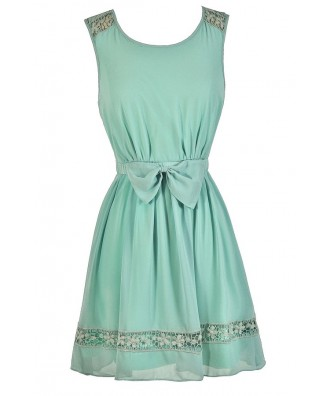 Cute Mint Dress, Mint Lace Dress, Mint Party Dress, Mint A-Line Dress, Cute Summer Dress, Cute Party Dress, Cute Bow Dress, Mint Summer Dress