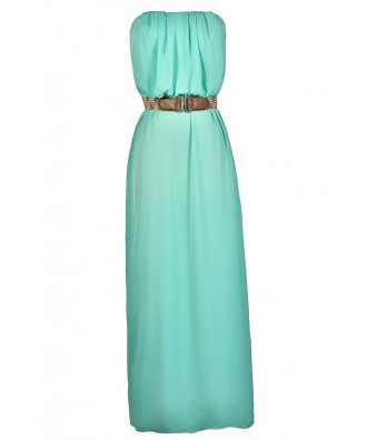 Cute Mint Dress, Mint Maxi Dress, Summer Maxi Dress, Cute Mint Maxi Dress, Belted Maxi Dress, Strapless Mint Maxi Dress