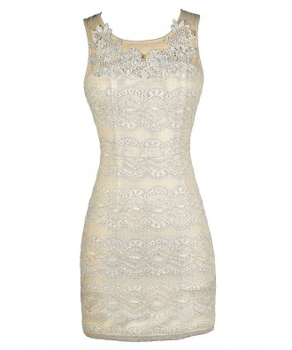 Beige Lace Dress, Beige Lace Bodycon Dress, Fitted Beige Dress, Fitted Lace Dress, Cute Beige Party Dress, Beige Bodycon Dress