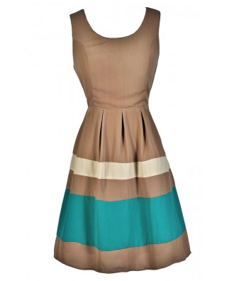 Taupe Stripe Dress, Colorblock Stripe Dress, Taupe A-Line Dress, Cute Party Dress, Cute Summer Dress, Light Brown Dress, Taupe and Turquoise Dress, Cute Party Dress
