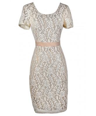 Beige Lace Dress, Beige Lace Pencil Dress, Beige Lace Fitted Dress, Beige Lace Party Dress, Beige and Ivory Lace Dress, Beige Lace Capsleeve Pencil Dress