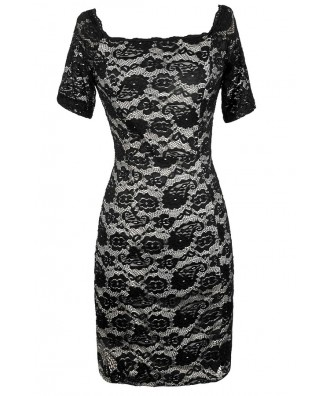 Black Lace Dress, Black and Beige Lace Dress, Fitted Black Lace Dress, Black Lace Bodycon Dress, Black Lace Pencil Dress, Black Lace Off Shoulder Dress, Black Lace Party Dress, Black Lace Cocktail Dress