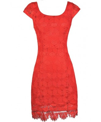 Red Orange Lace Dress, Red Orange Lace Pencil Dress, Fitted Red Orange Lace Dress, Red Orange Summer Dress, Red Orange Party Dress