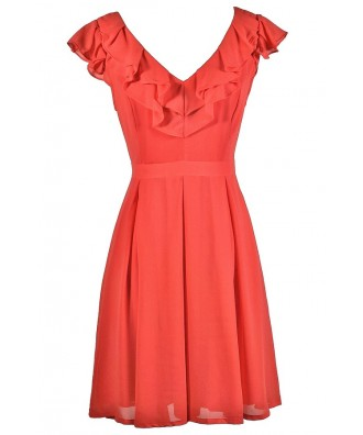 Coral Ruffle Dress, Cute Coral Dress, Coral A-Line Dress, Coral Party Dress, Coral Summer Dress