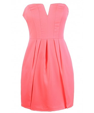 Cute Pink Dress, Hot Pink Dress, Bright Pink Dress, Neon Pink Dress, Hot Pink Strapless Dress, Cute Pink Summer Dress, Bright Pink Cocktail Dress