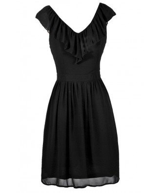 Cute Black Dress, Little Black Dress, Black Party Dress, Black Ruffle Dress, Black A-Line Dress, Black Chiffon Dress, Black Summer Dress
