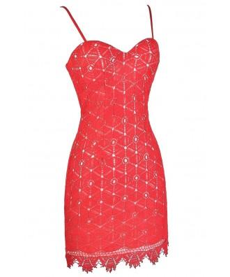 Coral Red Dress, Coral Red Lace Dress, Coral Red Crochet ...